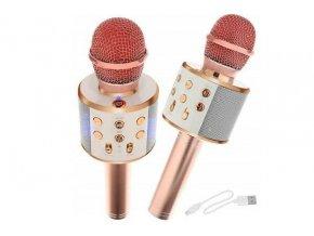 Bezdrôtový bluetooth karaoke mikrofón, okrúhly, Rose Gold