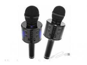 Bezdrôtový bluetooth karaoke mikrofón, guľatý, Black