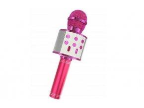 Bezdrôtový bluetooth karaoke mikrofón, guľatý, Pink