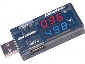 USB tester - voltmeter a ampérmeter 3-9V / 0-3A DC KWS-10VA