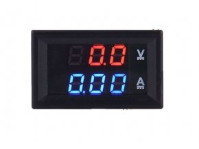 Ampérmeter / voltmeter panelový 10A 100V DC DSN VC288