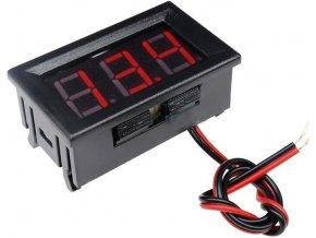 Voltmeter panelový LED červený, 3,5-30V, NC064, 2 vývody