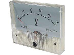 Analógový panelový voltmeter 69C9 50V DC