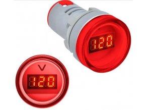 Voltmeter panelový AD16-22DSV, MP 60-500VAC, červený