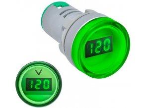 Voltmeter panelový AD16-22DSV, MP 60-500VAC, zelený