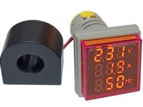 AD16-22VAHZS, panelový MP 60-500VAC + 0-100AAC, 20-80Hz, červený