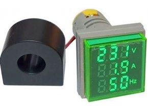 AD16-22VAHZS, panelový MP 60-500VAC + 0-100AAC, 20-80Hz, zelený
