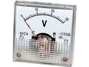 Analógový panelový voltmeter 91C4 30V DC