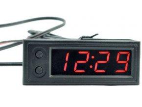 Digitálny teplomer, hodiny, voltmeter panelový 3v1, 12V, červený