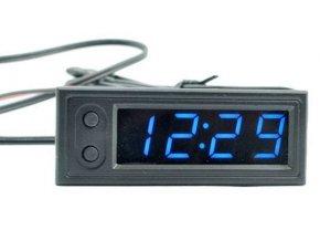 Digitálny teplomer, hodiny, voltmeter panelový 3v1, 12V, modrý
