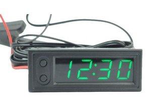 Digitální teploměr, hodiny, voltmetr panelový 3v1, 12V, zelený