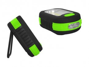 Svietidlo LED COB + 3xLED, napájanie 3xAAA ,, zelená, TIROSS