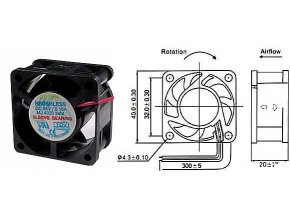 Ventilátor 40x40x20mm 24V / 0,1A 7500 ot / min.
