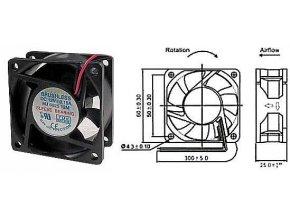 Ventilátor 60x60x25mm 12V / 0,15A 4000 ot / min