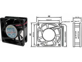 Ventilátor 60x60x20mm 12V / 0,16A 4600 ot / min