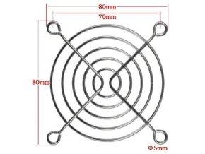 Mriežka ventilátora 80x80mm kovová