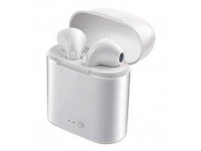 Bluetooth bezdrátová sluchátka i7s TWS bílé