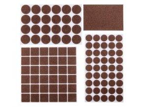Podložky filcové samolepiace, hnedé, 92 ks