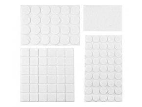 Podložky filcové samolepiace, biele, 92 ks