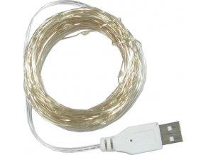 Vánoční a párty osvětlení - řetěz 100x LED bílý teplý, délka 10m