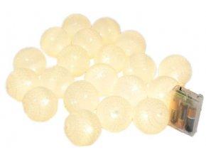 Vánoční a párty osvětlení - 20x koule LED teplá bílá, délka 3m
