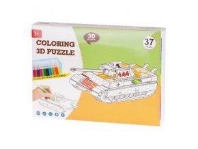 Papierové 3D puzzle s farbičkami - Tank 37 dielov