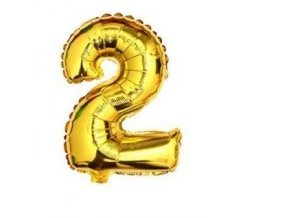Balón fóliové číslo- 2, cca 76cm, zlatý