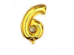 Balón fóliové číslo- 6, cca 76cm, zlatý