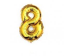 Balón fóliové číslo- 8, cca 76cm, zlatý
