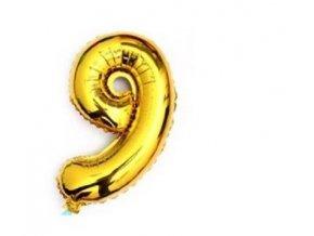 Balón fóliové číslo- 9, cca 76cm, zlatý