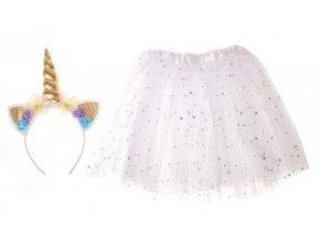 Detský kostým, biela sukňa s čelenkou jednorožec