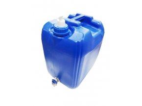 Plastový kanister modrý na vodu 20l s kohútikom a dávkovačom mydla