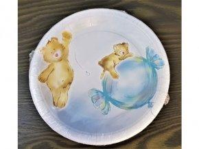 Papírové talířky Medvídek modrý, 18cm, 8ks