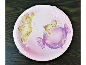 Papierové tanieriky Medvedík ružový, 18cm, 8ks