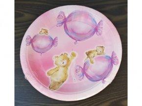 Papírové talířky Medvídek růžový, 23cm, 8ks