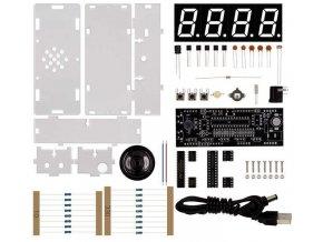 Digitální hodiny LED- modré s teploměrem a reproduktorem STAVEBNICE