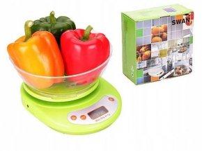 Kuchynská váha do 5 kg s miskou, zelená