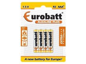 Batérie EUROBATT 1,5V AAA (LR03) Alkaline Plus, blister 4ks