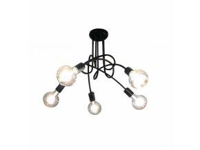 Čierne stropné svietidlo, 5 ramien x E27