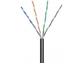 Kabel UTP Cat5e 4x2, AWG24, černá, venkovní provedení