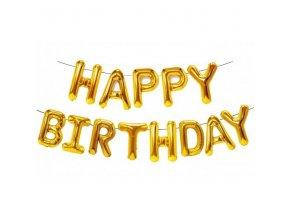 """Fóliový balónkový nápis """"HAPPY BIRTHDAY"""" zlatý"""