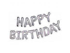 """Fóliový balónkový nápis """"HAPPY BIRTHDAY"""" stříbrný"""