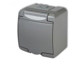 Zásuvka 250V / 16A IP54, sivá, Karlik