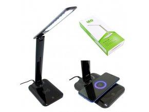 Stolná LED lampa s bezdrôtovým nabíjaním, stmievateľná, čierna