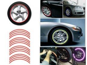 Reflexní pásky na kola, červená