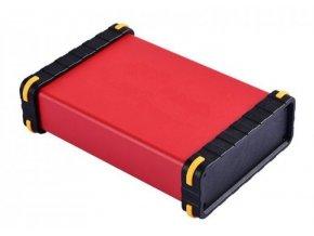 Krabička hliníková červená, 140x96x33mm, bočnice ABS