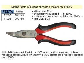 Kliešte pologuľaté zahnuté, 200mm, FESTA 17008