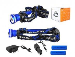 Svietidlo LED 8W, čelovka LTC LL46, 2x nabíjacie aku Li-Ion 18650, modrá
