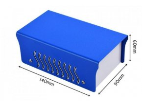 Krabička plechová dvojdielna, 90x140x60mm, modrá / biela