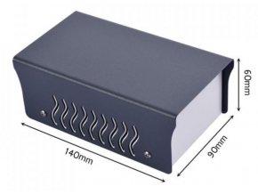 Krabička plechová dvojdielna, 90x140x60mm, sivá / biela